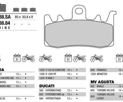 Колодки тормозные МОТО BREMBO 07BB3884 (FDB2265)