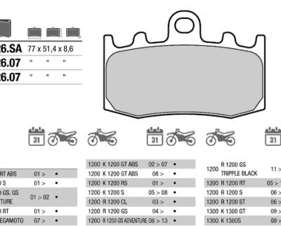 Колодки тормозные для BMW K1200, R1100, R1200 GS, 07BB26LA (FDB2125)