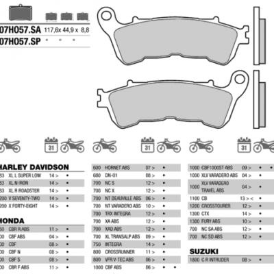 Колодки тормозные МОТО BREMBO 07HO57SA (FDB2196)