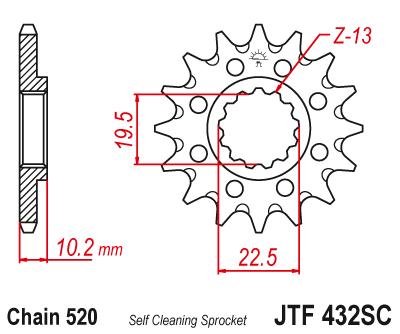 JT Звезда цепного привода, JTF432.14SC