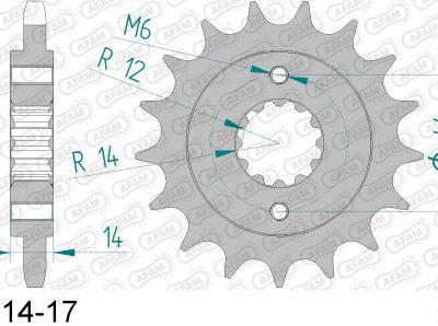 20614-17 звезда передняя (ведущая) стальная , 525, AFAM (JTF1372.17)