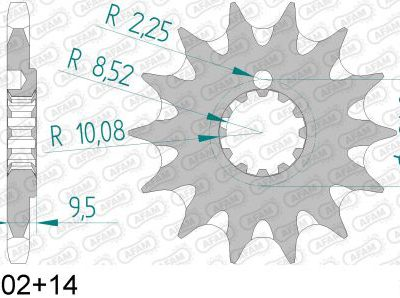 94202+14 звезда передняя (ведущая) стальная самоочищающаяся, 428, AFAM (JTF1907.14)