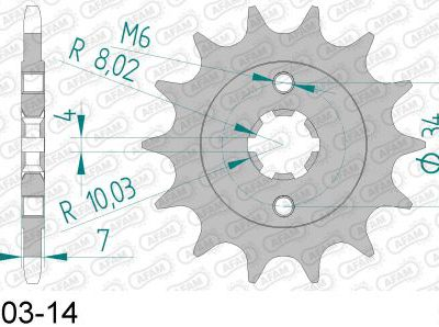 73203-14 звезда передняя (ведущая) стальная , 520, AFAM (JTF1903.14)