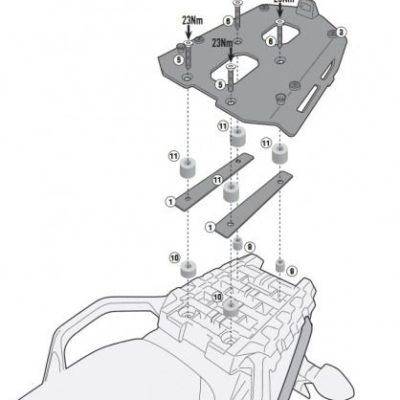 GIVI Крепёж центрального кофра Suzuki DL 650 V-Strom (17-18) SRA3112