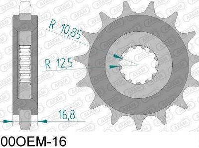 28400OEM-16 звезда передняя (ведущая) стальная с демпфером, 530, AFAM (JTF566.16)