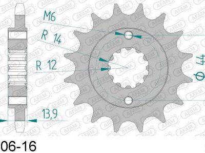 20606-16 звезда передняя (ведущая) стальная , 525, AFAM